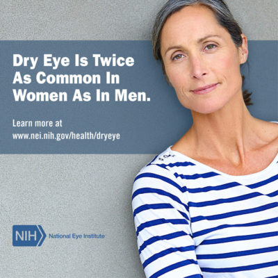 Dry Eye is twice as common in women as in men.